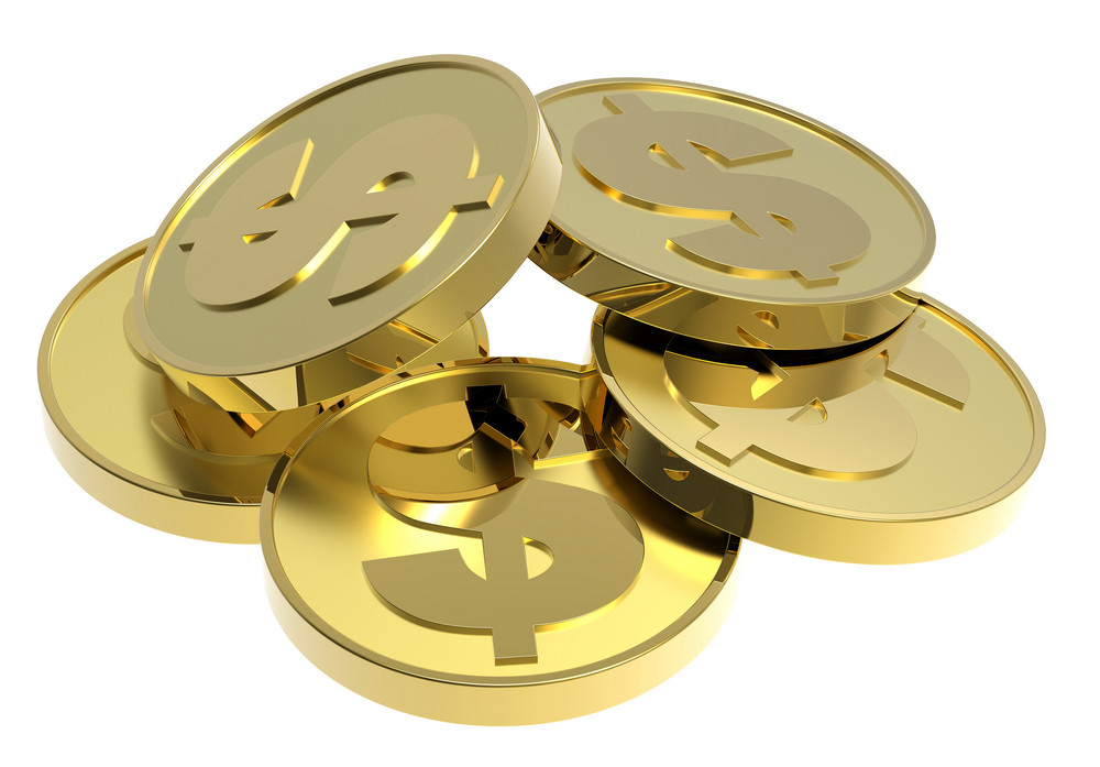 Stacks Of Gold Coins Isolated On A White Background.