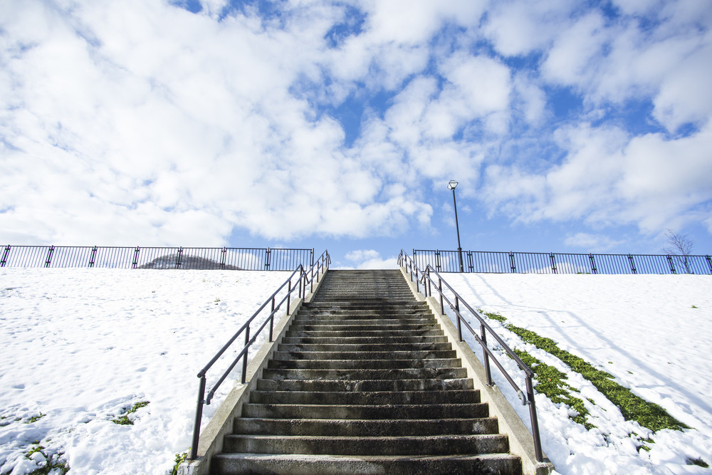 Stairway in park winter season with snow