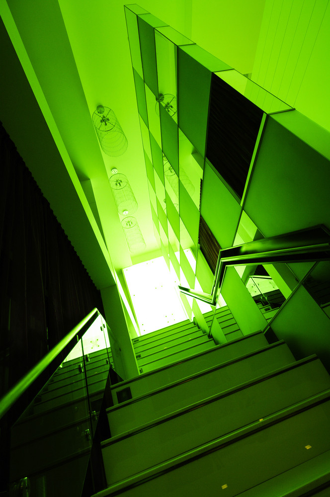 Stairway interior detail with green filter