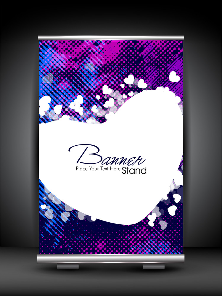 Stand Banner With Roll Up Display For Product Promotion Or Template Design. Eps 10