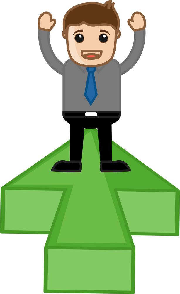 Standing On Arrow Plateform - Vector Character Illustration