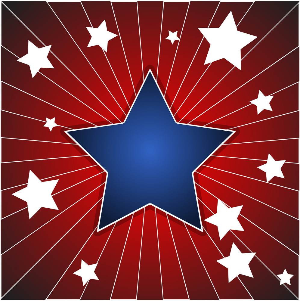 Star Sunburst Background - American Themed Independence Day Vector Design