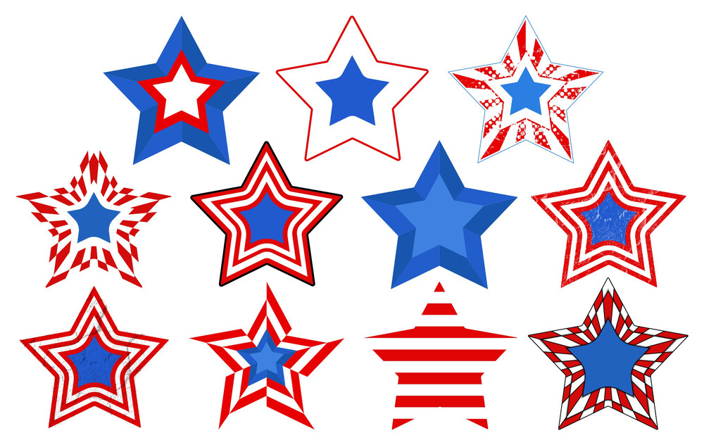 Stars Vector Set For Patriotic Usa Theme