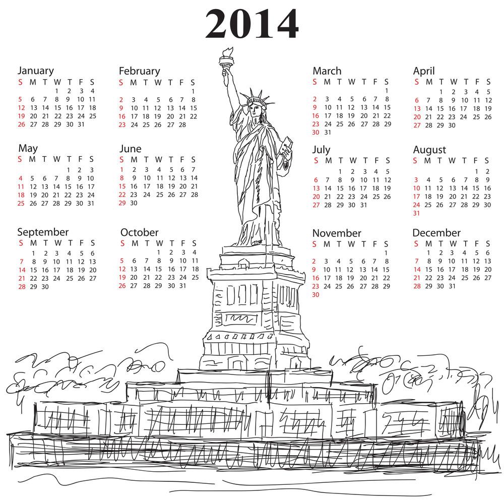 Statue Of Liberty 2014 Calendar