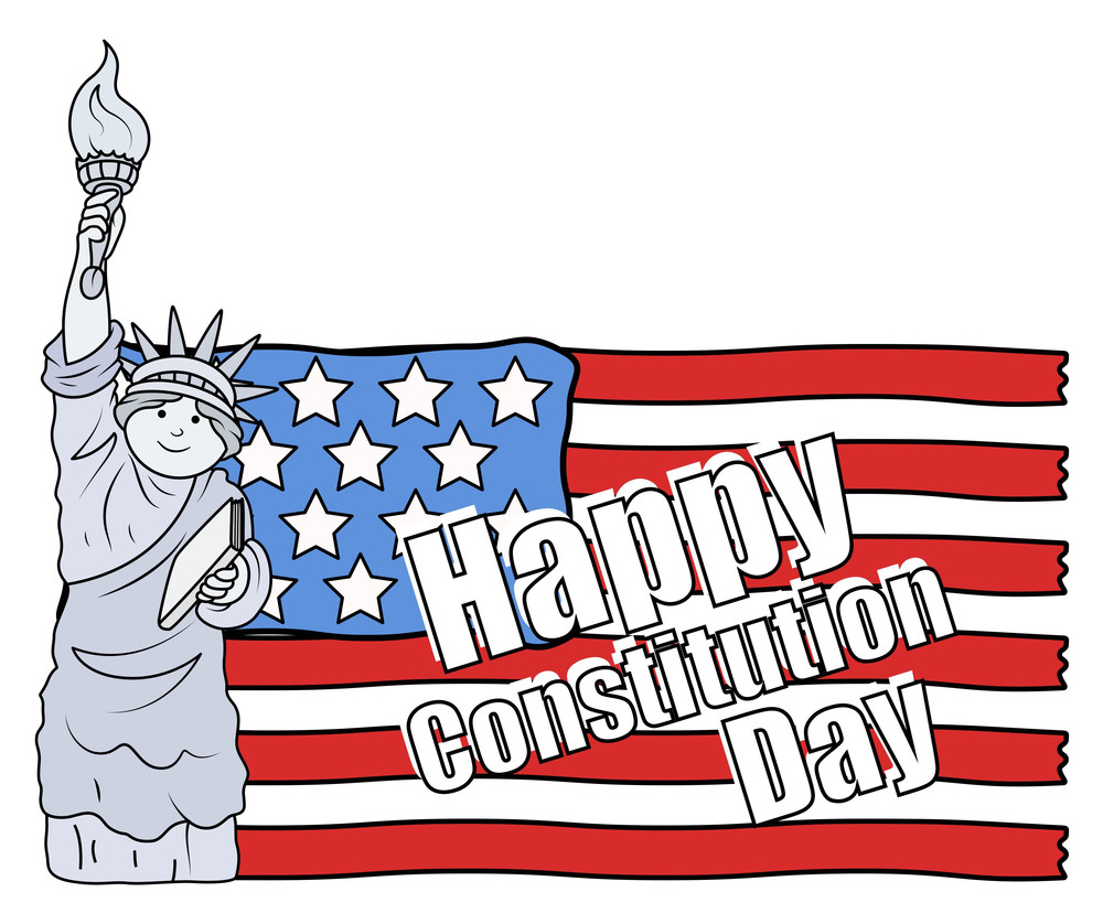 Statue Of Liberty And Us Flag  Constitution Day Vector Illustration