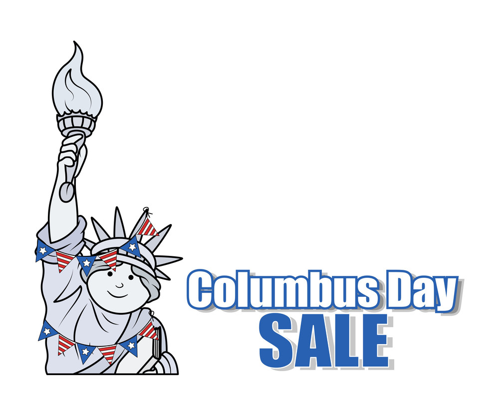 Statue Of Liberty Columbus Day Sale Banner