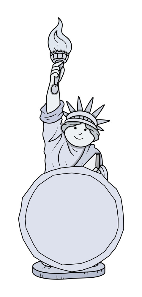 Statue Of Liberty Vector Message Banner Vector