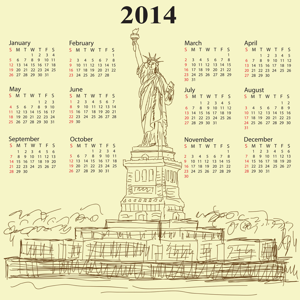 Statue Of Liberty Vintage 2014 Calendar