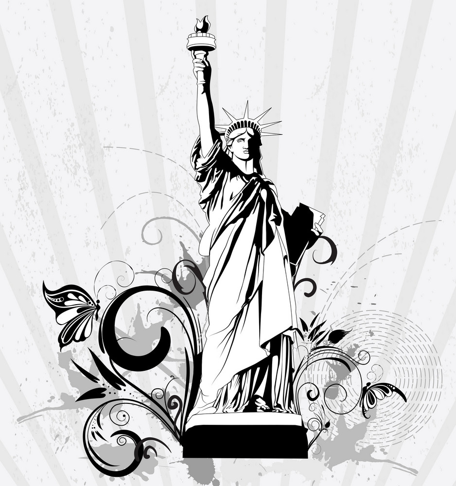 Statue Of Liberty With Floral Vector Illustration