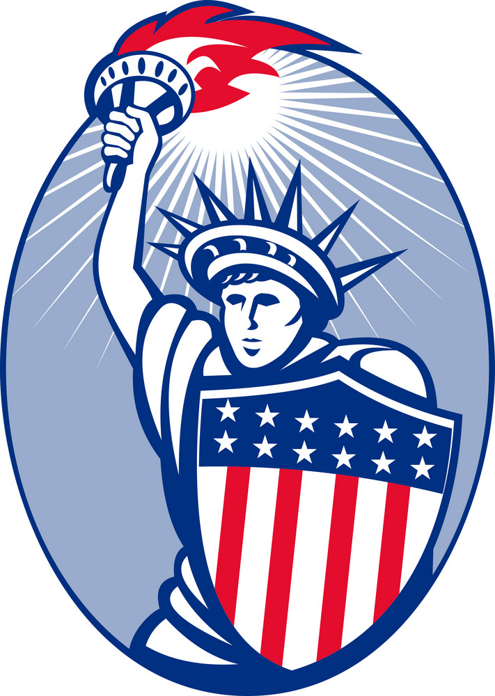 Statue Of Liberty With Torch And Shield