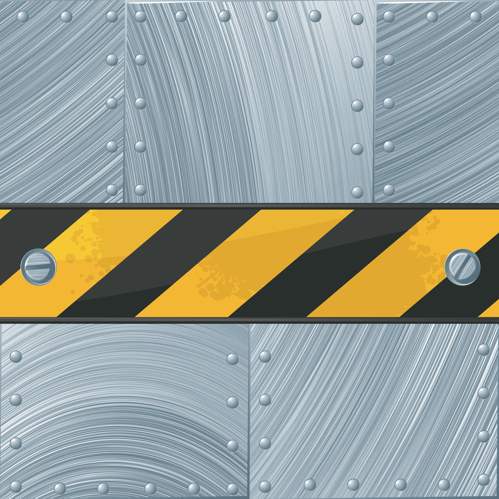 Steel Vector Background With Construction Tape.