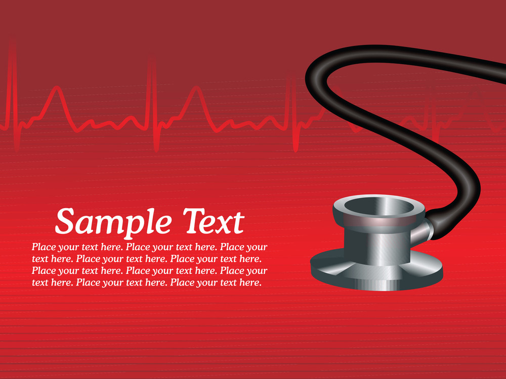 Stethoscope With Heart Beat Background