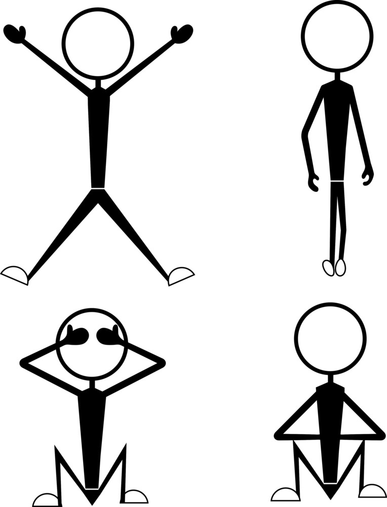 Stick Figures Standing And Sitting Poses