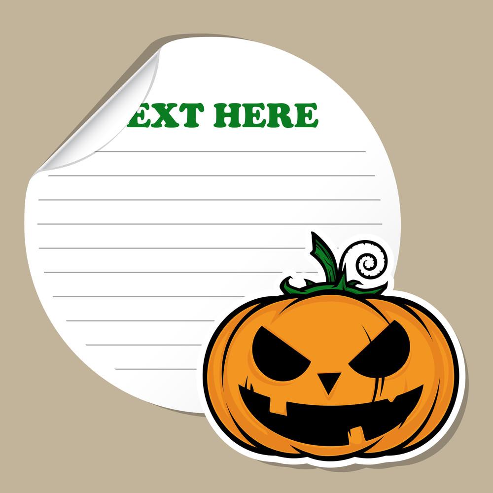 Stickers With Cartoon Halloween Pumpkin. Vector.