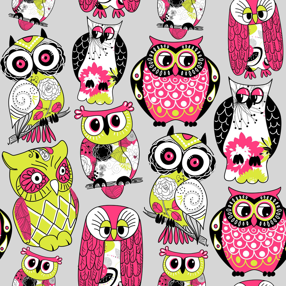 Stock Vector Illustration:-seamless And Colourful Owl Pattern.-