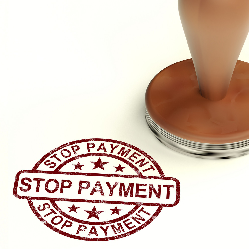 Stop Payment Stamp Shows Bill Transactions Denied