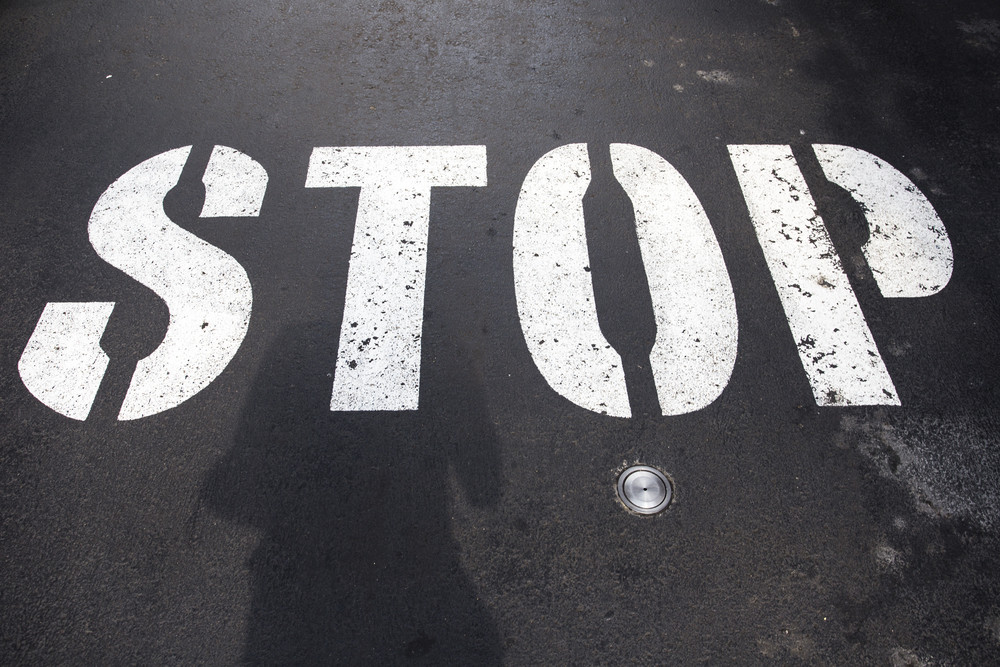 Stop text label on road