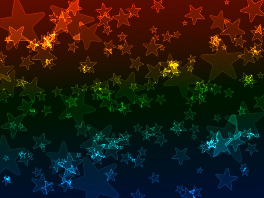 Bokeh Neon Stars Background