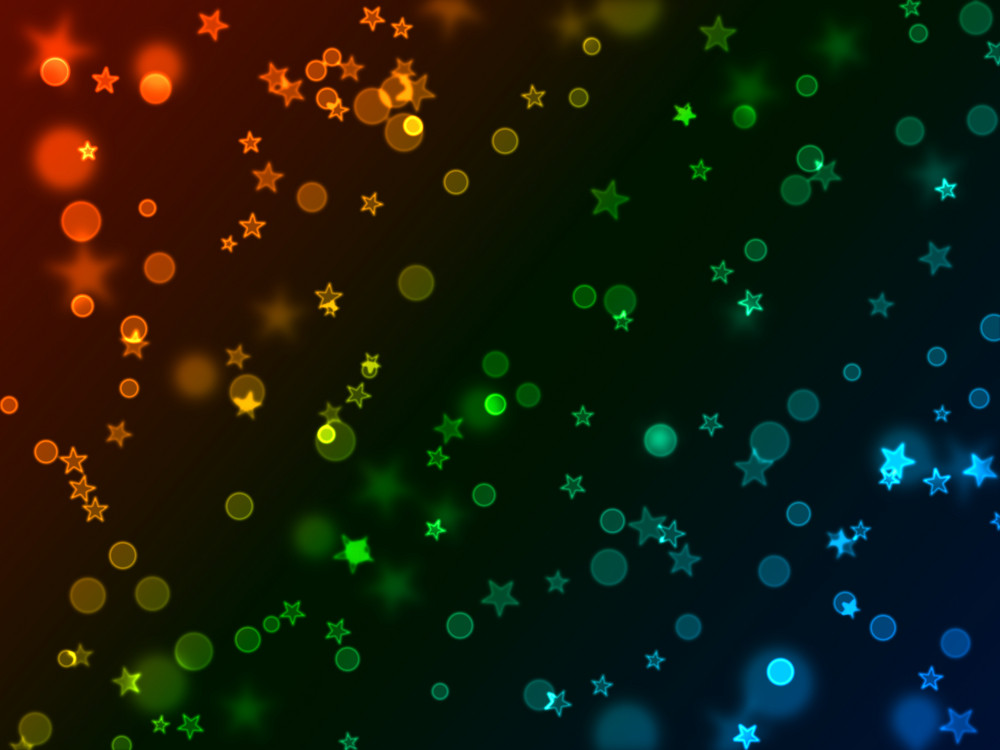 Bokeh Neon Stars And Circles Background
