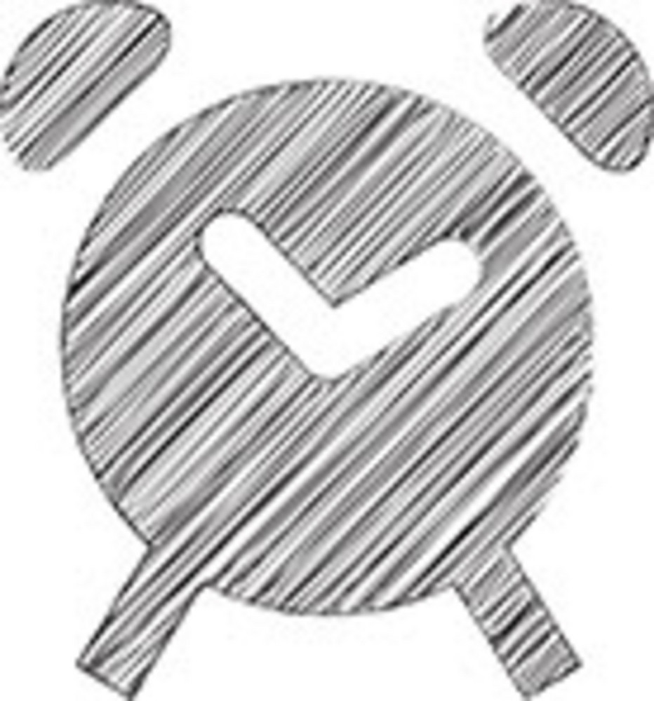 Scribbled Alarm Clock On White Background