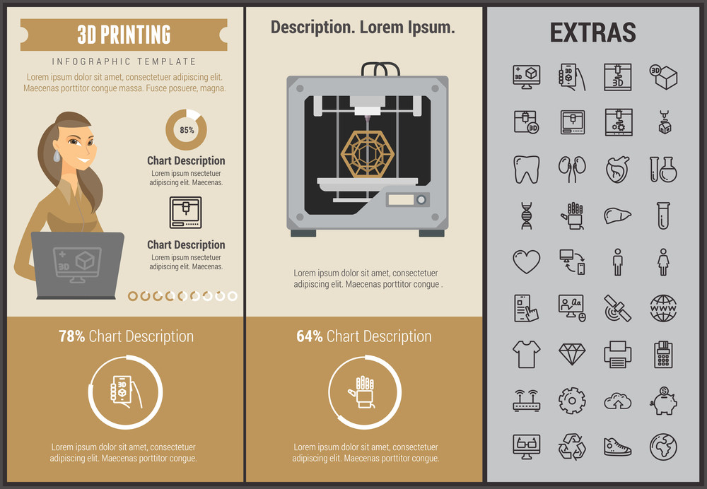 3D printing infographic template, elements and icons. Infograph includes customizable graphs, charts, line icon set with 3D printer, products of 3D innovation technologies, printing machine etc.