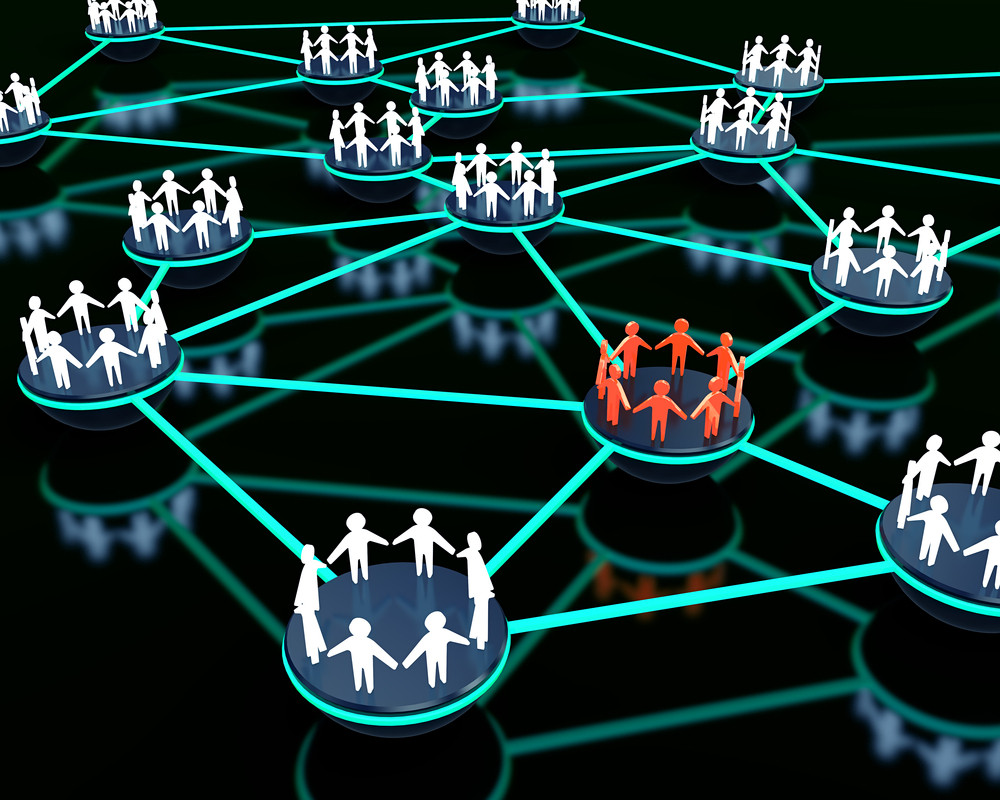 3d render of social network with group of people standing out from the crowd.