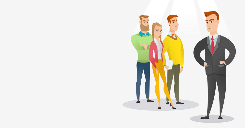 Angry caucasian business man shouting at his employees. Aggressive business man firing his employees. Annoyed business man yelling at his employees. Vector flat design illustration. Horizontal layout.