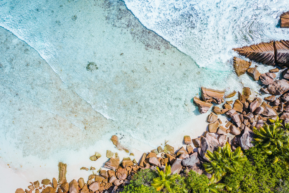 Anse Cocos beach tropical island La Digue Seychelles. Drone aerial view bird-eye perspective at the palm trees and foam ocean waves rolling towards the coast