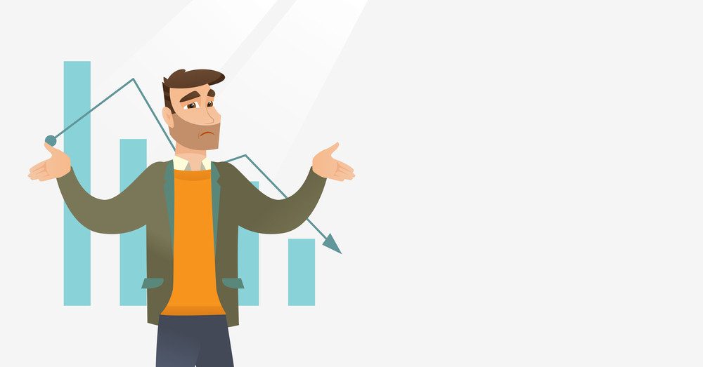 Bankrupt businessman standing on the background of decreasing chart. Bancrupt businessman unaware what to do with bankruptcy. Bankruptcy concept. Vector flat design illustration. Horizontal layout.