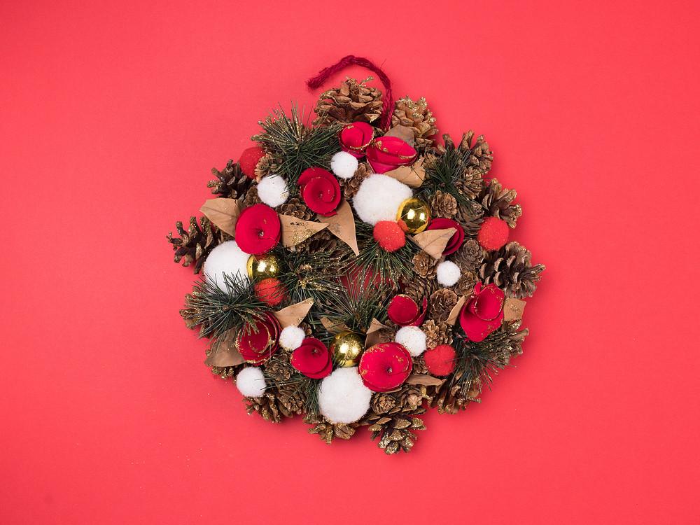 Beautiful Christmas Background Design.Beautiful Christmas Wreath On Red Background Great Design