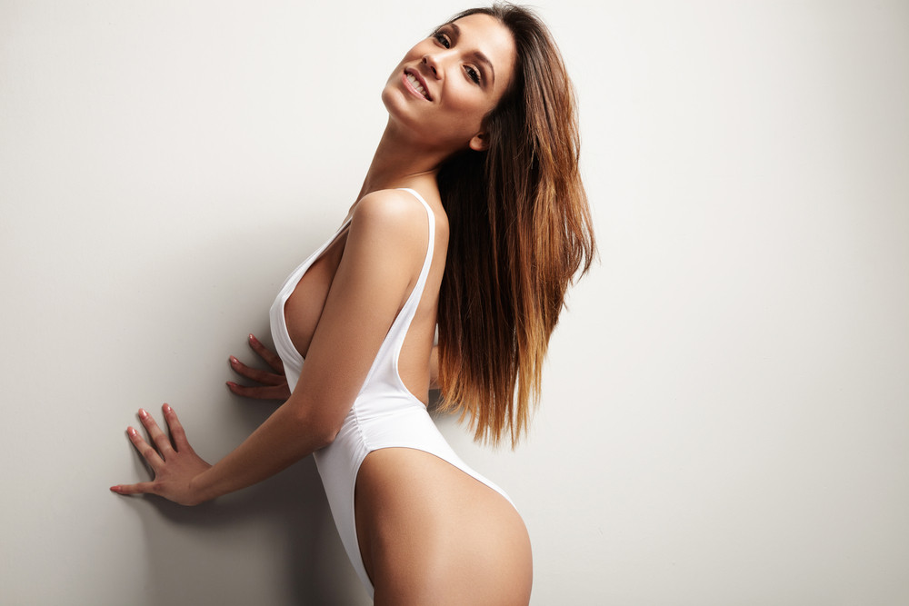 beauty spanish woman smiling, long straight hair