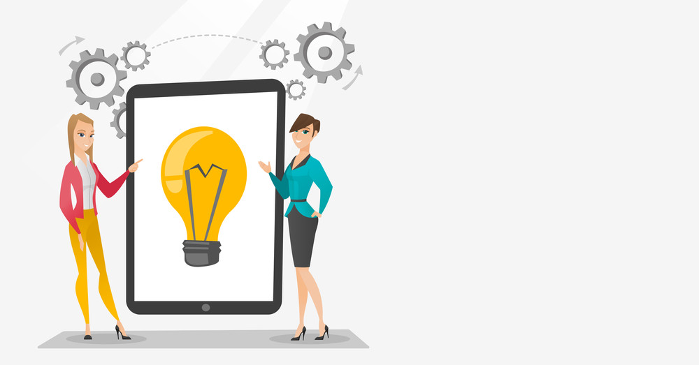 Business partners working on business idea. Caucasian business women discussing business ideas. Businesswomen pointing at idea bulb on tablet screen. Vector flat design illustration. Horizontal layout