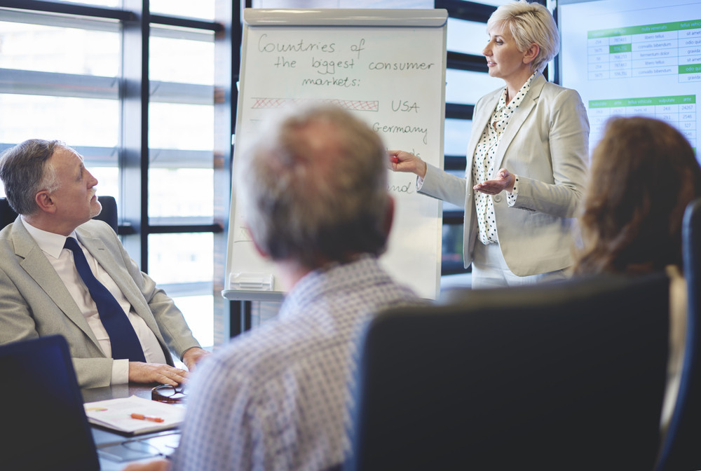 Business woman guiding in business meeting
