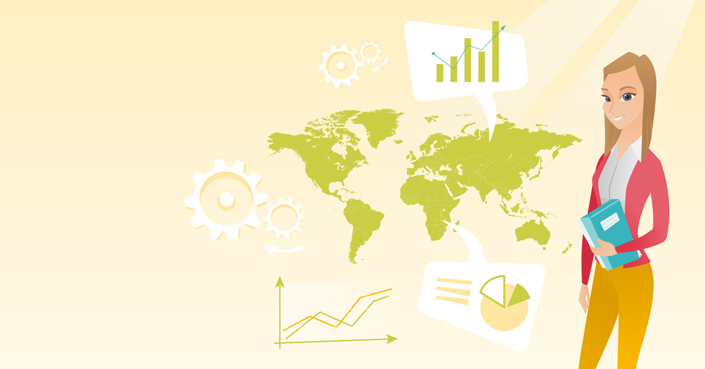 Business woman taking part in global business. Businesswoman standing on the background of map. Global business and business globalization concept. Vector flat design illustration. Horizontal layout.