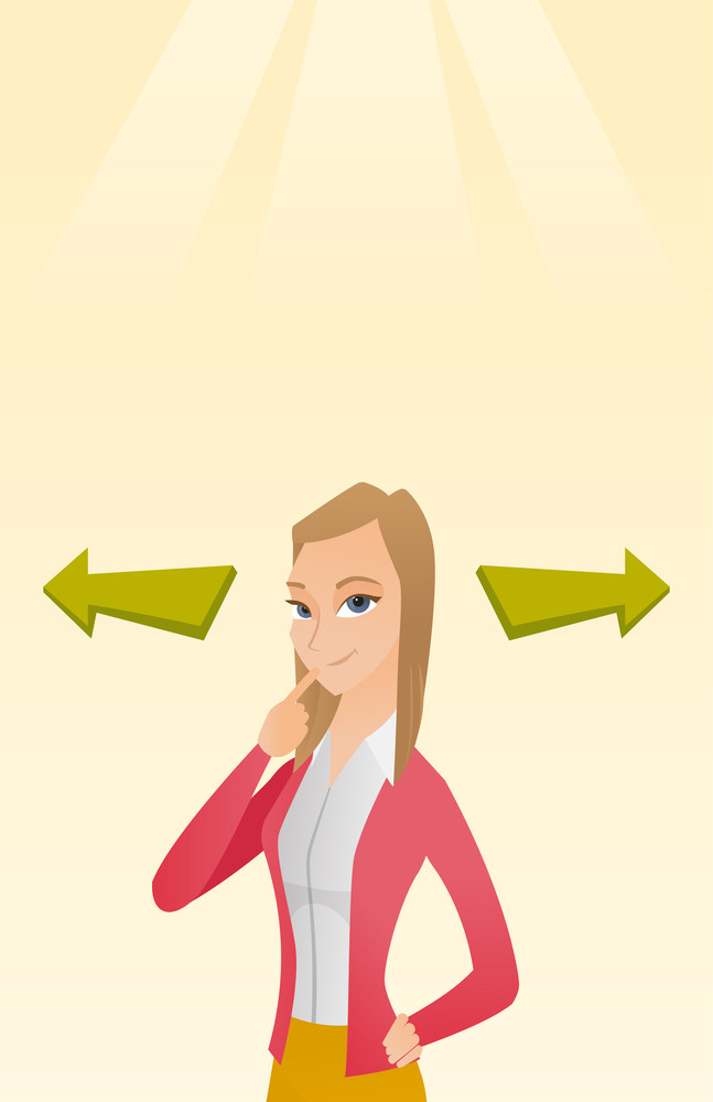Business woman thinking about solution of business problem. Businesswoman with two arrows symbolizing business solution. Business solution concept. Vector flat design illustration. Vertical layout.
