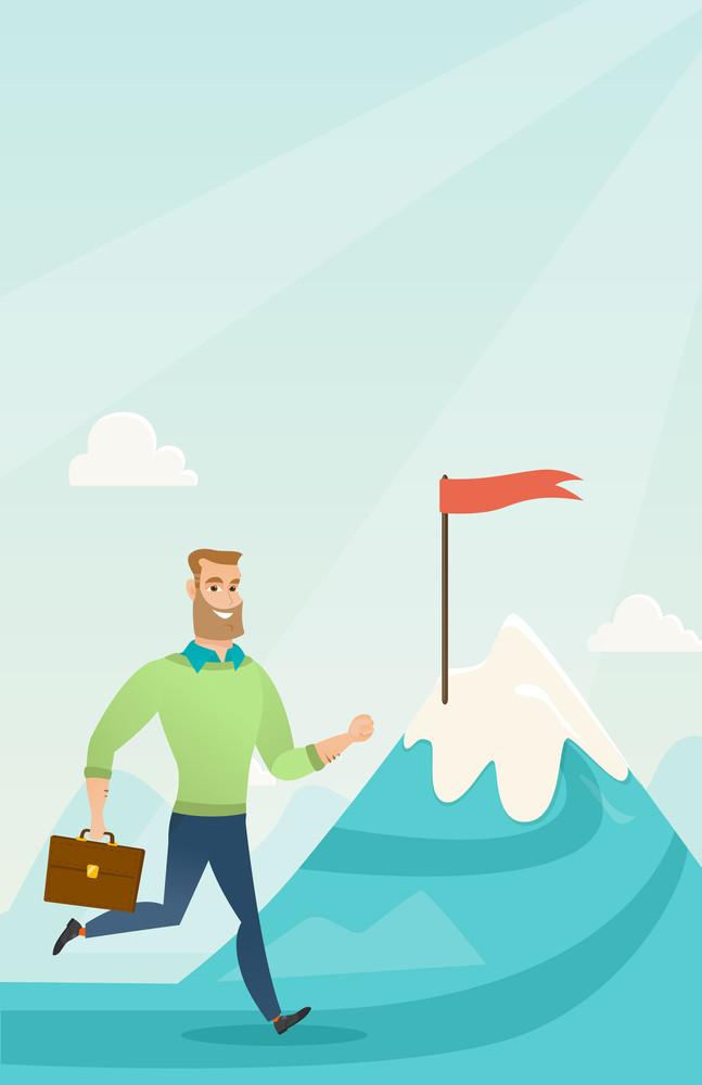 Businessman running to flag on the peak of mountain symbolizing business goal. Businessman standing on road leading to his goal. Business goal concept. Vector flat design illustration. Vertical layout