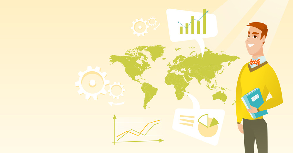 Businessman taking part in global business. Businessman standing on the background of world map. Global business and business globalization concept. Vector flat design illustration. Horizontal layout.