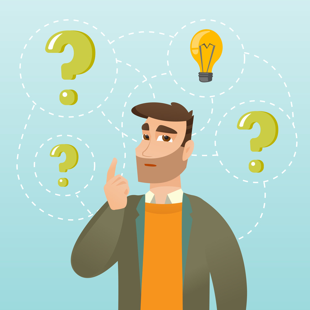 Businessman thinking about business idea. Businessman standing with question marks and idea bulb above his head. Business idea concept. Vector flat design illustration isolated on white background.