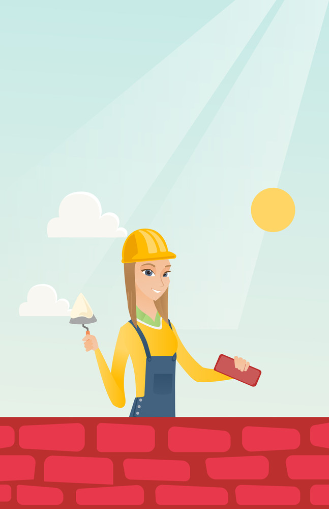 Caucasian bicklayer working with spatula and brick on construction site. Young bricklayer in uniform and hard hat. Bricklayer building brick wall. Vector flat design illustration. Vertical layout.