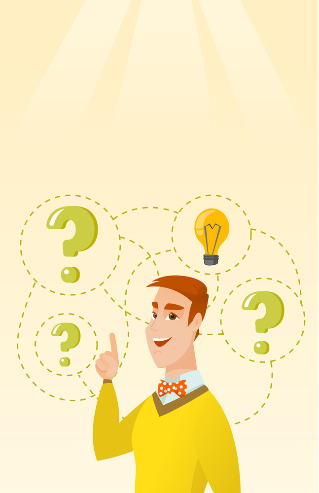 Caucasian business man came up with a successful idea. Young business man pointing finger up while standing under question marks and idea light bulb. Vector flat design illustration. Vertical layout.