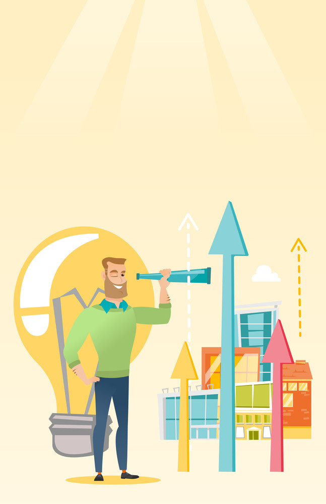 Caucasian business man looking through spyglass at arrows going up and idea bulb. Young business man looking for creative idea. Business idea concept. Vector flat design illustration. Vertical layout.