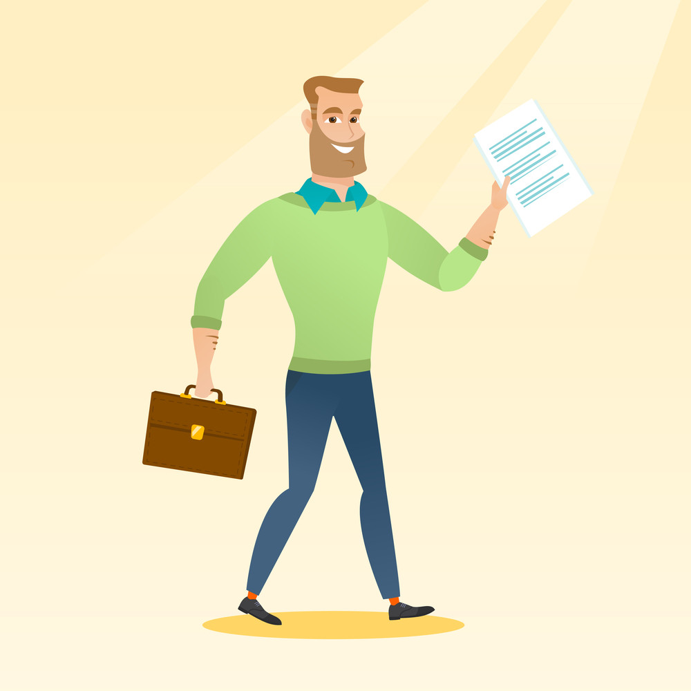 Caucasian business man walking with briefcase and a document. Young happy business man walking in a hurry. Cheerful business man walking to success. Vector flat design illustration. Square layout.