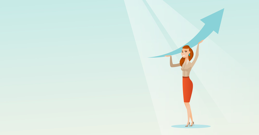 Caucasian business woman changing the path of graph to a positive increase. Business woman holding arrow going up. Business woman with growth graph. Vector flat design illustration. Horizontal layout.
