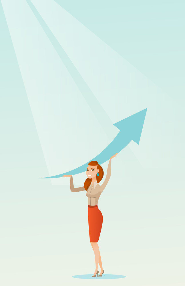 Caucasian business woman changing the path of graph to a positive increase. Business woman holding arrow going up. Business woman with growth graph. Vector flat design illustration. Vertical layout.
