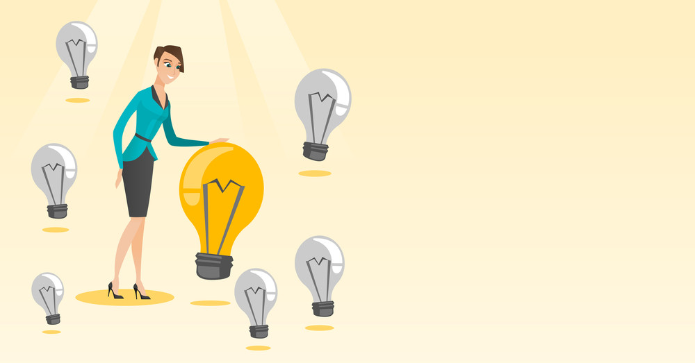 Caucasian business woman having business idea. Business woman standing among unlit idea light bulbs and looking at the brightest idea light bulb. Vector flat design illustration. Horizontal layout.