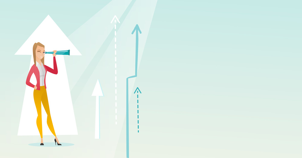 Caucasian business woman looking through spyglass on arrows going up symbolizing business opportunities. Business vision and opportunities concept. Vector flat design illustration. Horizontal layout.