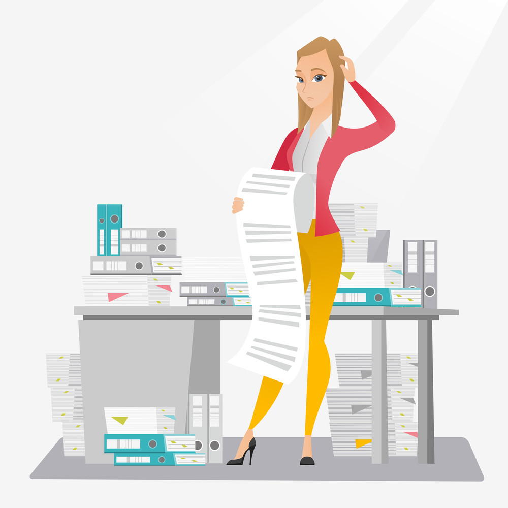 Caucasian business woman standing in office with long bill in hands. Disappointed business woman holding long bill. Business woman looking at long bill. Vector flat design illustration. Square layout.