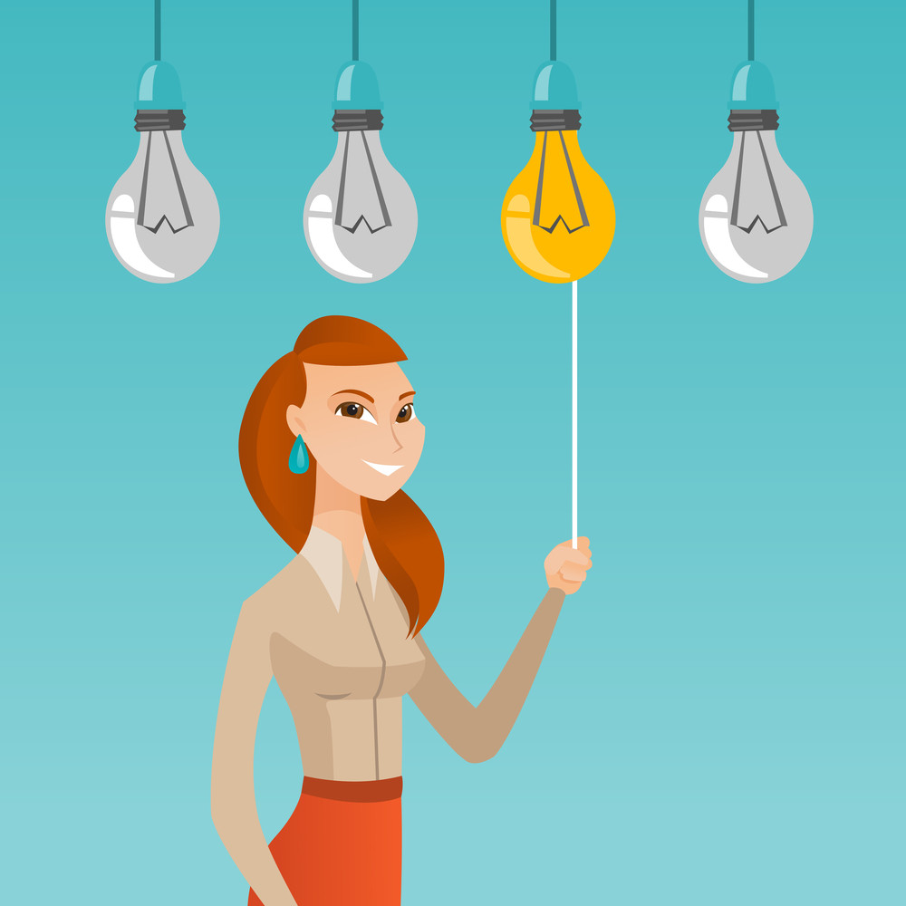 Caucasian business woman switching on hanging idea light bulb. Young cheerful business woman pulling a light switch. Business idea concept. Vector flat design illustration isolated on white background