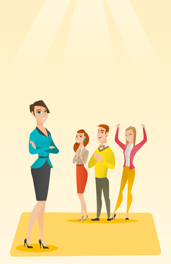 Caucasian businessmen applauding at business seminar. Audience applauding at business conference. Cheerful businessmen applauding during presentation. Vector flat design illustration. Vertical layout.