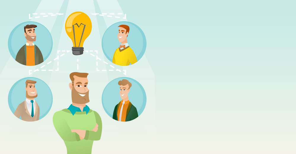 Caucasian businessmen working on a idea. Group of businessmen discussing business idea. Group of business people connected by one idea light bulb. Vector flat design illustration. Horizontal layout.